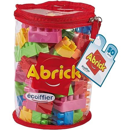 Jouets Ecoiffier -486 - Sac de briques à empiler Abrick – Jeu de construction pour enfants – 50 pièces – Dès 18 mois – Fabriqué en France