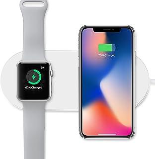 Sararoom 2in1ワイヤレス充電器 Apple watch & iPhone同時充電可能 Qi ワイヤレスチャージャー 10w 置くだけ充電 iPhone X/iphone 8/iPhone 8 Plus/Apple Watch Series 2/Series 3/S6/S6 edge/ S7/ S7 edge/S8+/Note 8など対応