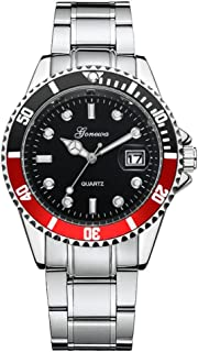 Stainless Steel Date Wrist Watch,Vovomay Mens Fashion Military Date Sport Quartz Analog Wrist Watch Wrist Watch Dial Clock (Red)