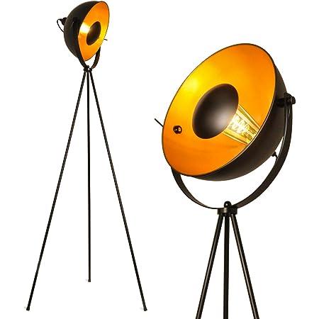 BarcelonaLED Lampe sur pied trépied projecteur métallique noir avec spot à reflets doré décoration vintage nordique rétro avec interrupteur sur pied douille pour ampoule E27 salon chambre et studio
