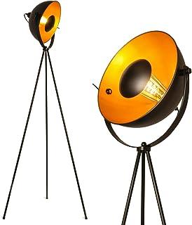 BarcelonaLED Lámpara de pie trípode proyector metálico negro con foco de reflejo dorado Decoración Vintage Nórdica Retro con interruptor de pie casquillo para bombilla E27 Salón Dormitorio y Estudio