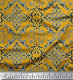 Soimoi Gold Baumwolljersey Stoff Vektor-Design Damast Stoff