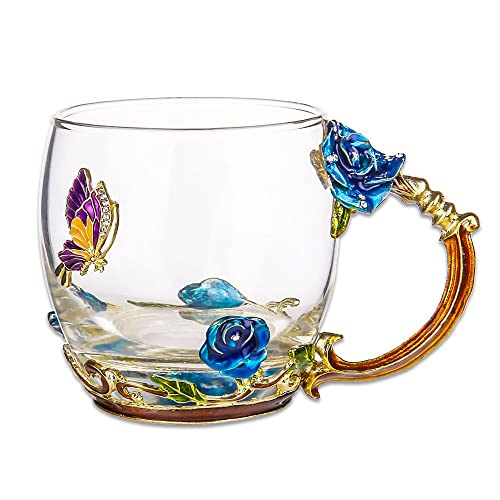 COAWG Flower Glass Tea Mug 11oz Lead Free Handmade Butterfly And Blue Rose Cup