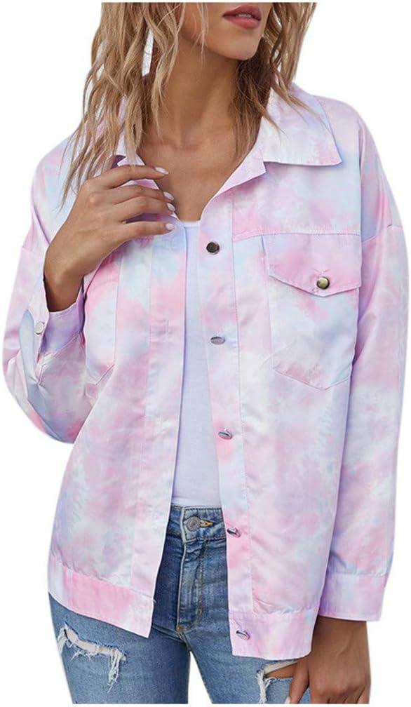 Kaifongfu Women Button Limited price Down Pink Genuine Casual Prin Tie-Dye Coat Jacket