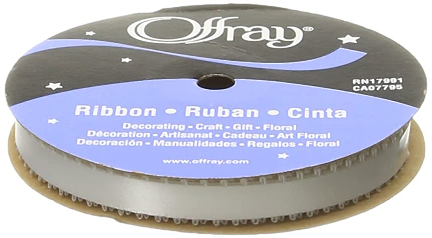 Offray Feather Edge Double Face Satin Craft Ribbon, 3/8-Inch Wide by 20-Yard Spool, White