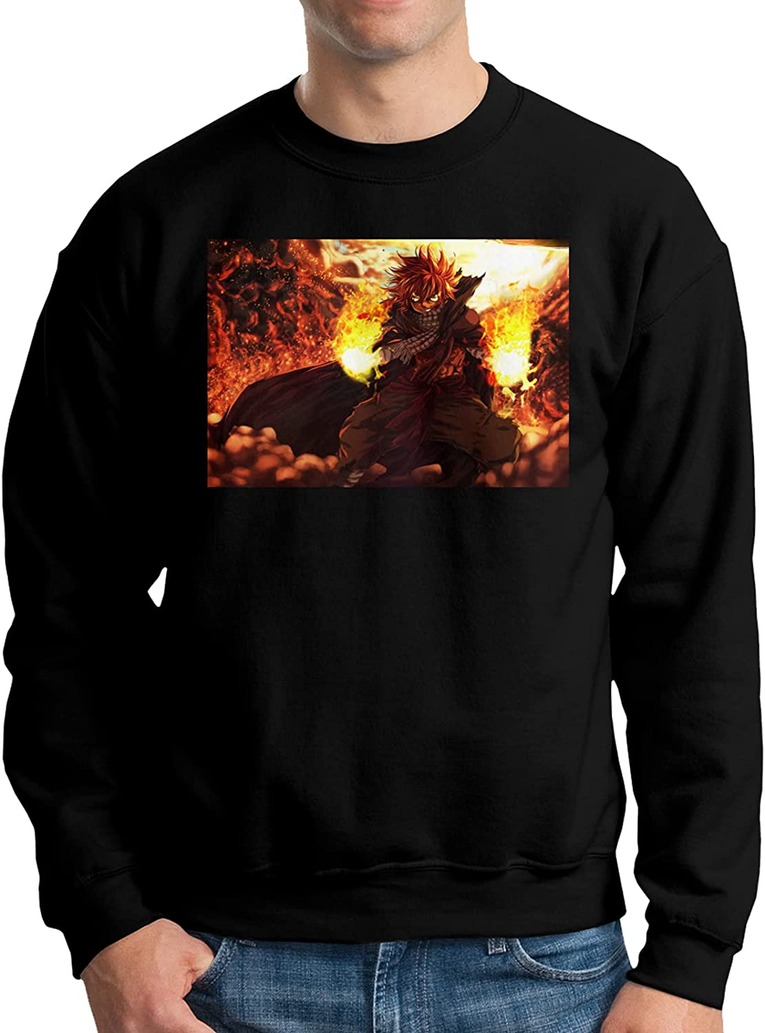 Fairy Tail Natsu Dragneel Hoody Mens Round Neck Al sold out. Sweater Brand Cheap Sale Venue Long Sle