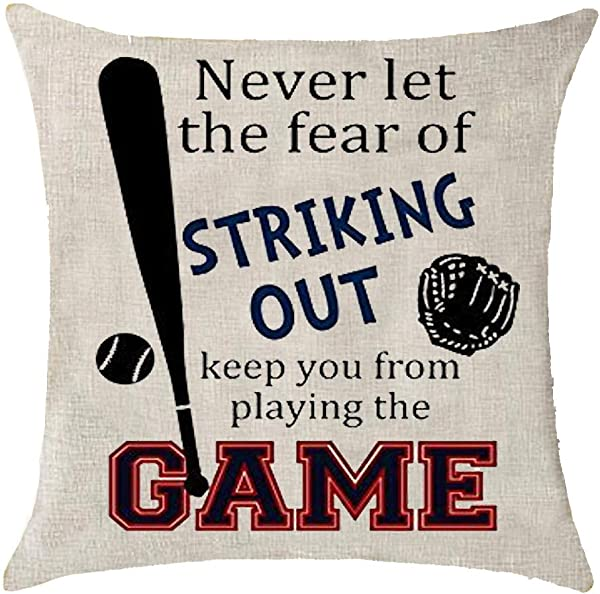 GAWEKIQE Sport Baseball Never Let The Fear Of Striking Out Play The Game Gift Holiday Cotton Linen Throw Pillow Cover Cushion Case Holiday Decorative 18 X18 Inch Gift Decorative Pillow