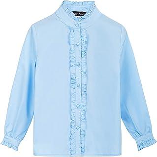 SCARLET DARKNESS Little Girls Ruffled Blouse School Uniform Long Sleeve Tops 6-12Y