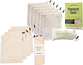 Premium Reusable Produce Shopping Bag 10 Piece Set   Organic Cotton Muslin + Mesh   for Shopping, Produce, Markets, Fruit, Veg, Bread, Bulk Goods