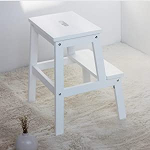 JZX Household Step Stool  Photography Folding Step Stool  Solid Wood Child Ladder Stool Change Shoe Bench Adult Flower Stand White