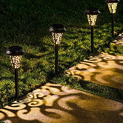 LeiDrail Solar Pathway Lights Outdoor Garden Path Light Spider Web Decorative Warm White LED Black Metal Stake Landscape Lighting Waterproof for Yard Patio Walkway Lawn In-Ground Spike - 6 Pack