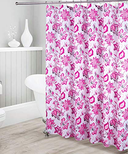Decorative Bathroom Floral Pattern Waterproof Fabric Shower Curtain Hot Pink Black Light Grey with 12 Stainless Steel Roller Hooks for Modern Bathroom New