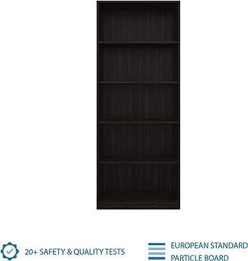 Amazon Brand - Solimo Engineered Wood; Particle Board Pavo Bookcase,Wood Finish,Set Of 1,Wenge