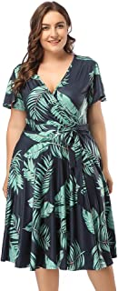 Vestido Largo Mujer Talla Grande Moda Bolsillo Top Falda para Fiesta Verano Manga Corta Floral Estampada Suleto Moda de Ropa Elegante Maxi