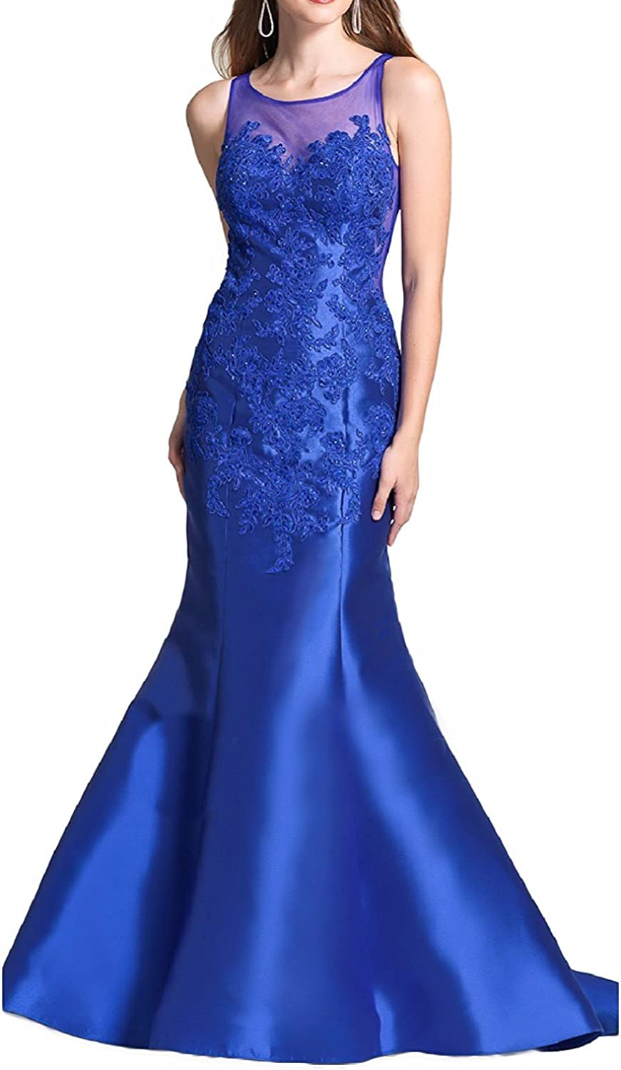 LL Bridal Women's Mermaid Beaded Prom Dresses with Train Embroidery Evening Formal Gown Long 2018 LLP078