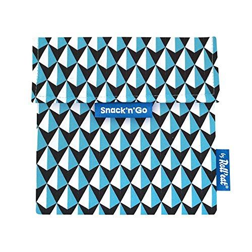 Roll'eat Snack'n'Go – Snackbeutel | wiederverwendbarer, ökologische Lunchbox, BPA frei, leicht zu reinigender Snackbag - Motiv: Tiles Dreiecke, Farbe: blau, 18 x 18cm