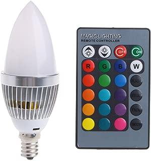jiomia E12 3W RGB LED 15 Colors Changing Candle Light Bulb Lamp w/Remote Control AC85-265V (E12)
