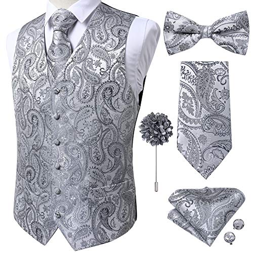 DiBanGu Chaleco para hombre, 5 piezas de chaleco de cachemira para boda, corbata de pajarita cuadrada S-3XL, Paisley plateada., 3X-Large