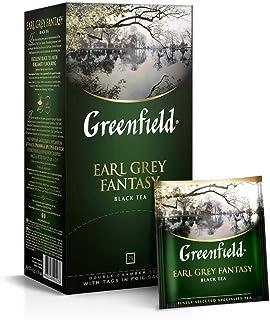 Greenfield Earl Grey Fantasy, Aromatisierter Schwarzer Tee, Flavoured Black Tea, Sri Lanka, 25 Teebeutel mit Doppelkammer und Etiketten in Folienbeuteln, 25 x 2g, 50g