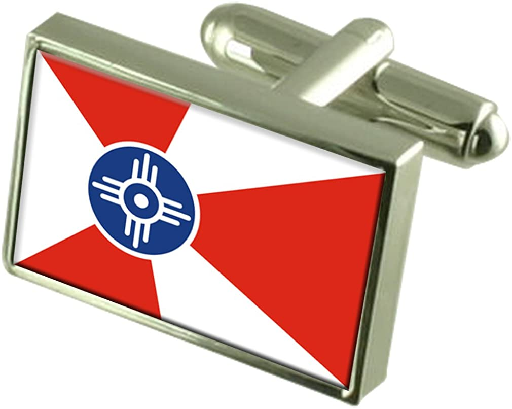 Wichita City United States Sterling Engrav Cufflinks Manufacturer regenerated product Flag Silver 2021 model