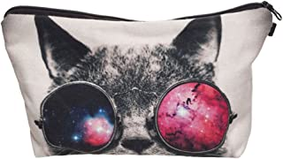 ZAONE Women Makeup Bags 3D Printing Zipper Cosmetic Bag With Multicolor Pattern Cute Animals Cosmetics Pouchs For Travel Ladies Women Eyebrow Pencil Case Organiser (Sunglass Cat)