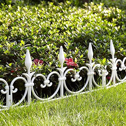 Recinzione per Giardino in plastica flessibile, serie di 8 - Lunghezza lineare 4,08 M - Bordo per recinzione, cespuglio, prato, aiuola, vegetali - 50 CM x 30 CM - Bianco