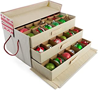 [Christmas Ornament Storage Box with Dividers] - (Holds 72 Ornaments up to 3 Inches in Diameter) | Acid-Free Removable Trays with Separators | 3 Removable Drawer Style Trays - (Cross Stitch)