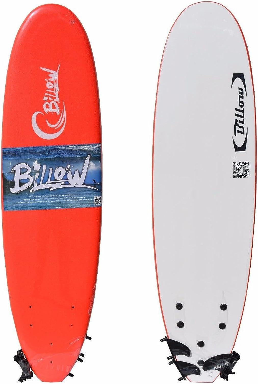 Billow Soft Surfboard Soft Board with Leash & Fins Foam Board (Red, 6ft)