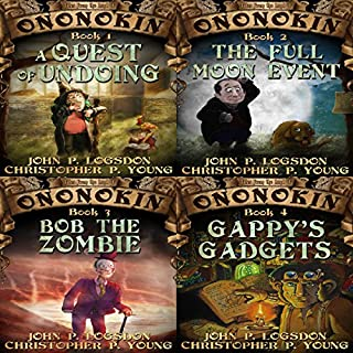 Ononokin Book Bundle #1     4 Hilarious Adventures               By:                                                                                                                                 John P. Logsdon,                                                                                        Christopher P. Young                               Narrated by:                                                                                                                                 Jus Sargeant                      Length: 21 hrs and 37 mins     164 ratings     Overall 4.6