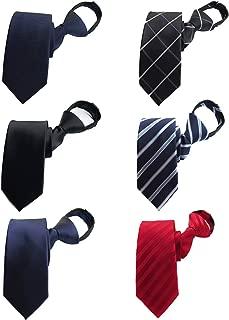 BESMODZ Men's Lot 6 PCS Classic Zipper Ties Pretied Solid Color Silk Necktie Set