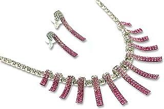 Janeo - Set di collana e orecchini coordinati da donna, stile moderno e contemporaneo, oro 14 K, elementi di cristallo svi...
