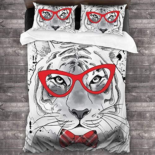 ATZTD Juego de ropa de cama, diseño de tigre con gafas y corbata, funda de edredón suave de 3 piezas con 2 fundas de almohada de 230 x 220 cm
