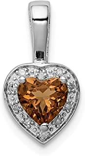 925 Sterling Silver Diamond Whiskey Quartz Pendant Charm Necklace Gemstone Fine Jewelry Gifts For Women For Her