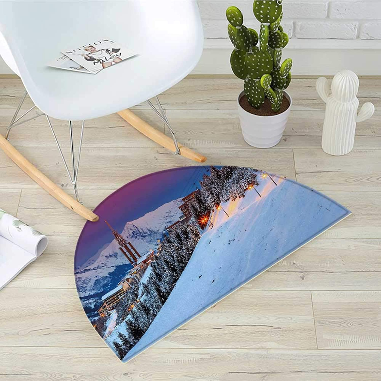 Winter Semicircular CushionMajestic Winter Sunrise Landscape and Ski Resort Spruce Pine Forest French Alps Entry Door Mat H 39.3  xD 59  Multicolor