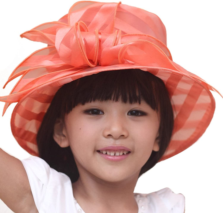 June's Young Women Fashion Hats Organza Hat Elegant Women Sun Hat for Kentucky Derby