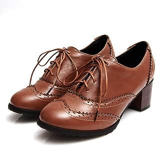 Bonrise Brogue Chunky Block Heel Oxfords Shoes Wingtip Vintage Lace-up Casual Dress Oxford Pump Brogue Black