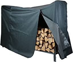 Sunnydaze 6-Foot Decorative Firewood Log Rack with Waterproof Cover Combo, Outdoor Wood Storage Holder, Black
