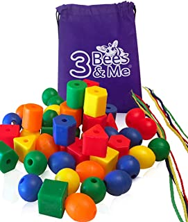 3 Bees & Me Toddler Learning Toys - 50 Jumbo Lacing Beads for Toddlers and Kids - Educational Colour Sorting & Shape Activ...