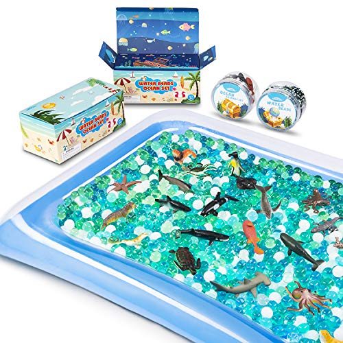 MONILON Water Beads 24 Pcs Ocean Sea Animals Tactile Sensory Play Kids Toys for Boys Girls Water Gel Soft Beads Growing Jelly Balls for Spa Refill Pool & Decor-Inflatable Water Mat Include