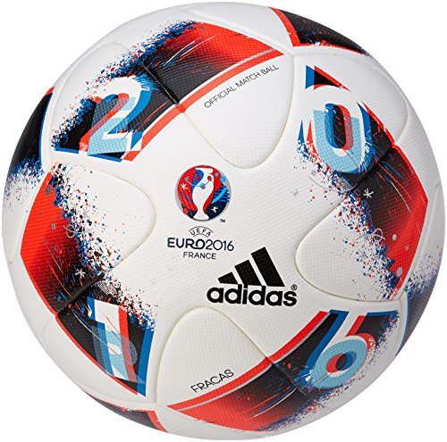 adidas Euro16 Omb Fußball, White/Bright Blue/Solar Red/Silver Metallic, 5
