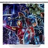 Marvel Hero Duschvorhänge, Iron Man Captain America Hulk Raytheon Maßgeschneidert, maschinenwaschbar, wasserdicht, Polyester-Stoff, 3D-Badezimmervorhang-Set mit Haken, 180,3 x 180,3 cm