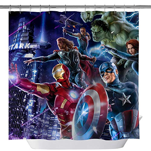Marvel Hero Shower Curtains, Iron Man Captain America Hulk Raytheon Custom Made Machine Washable Waterproof Polyester Fabric Shower Curtain, 3D Bathroom Curtain Set with Hooks, 71X 71 in