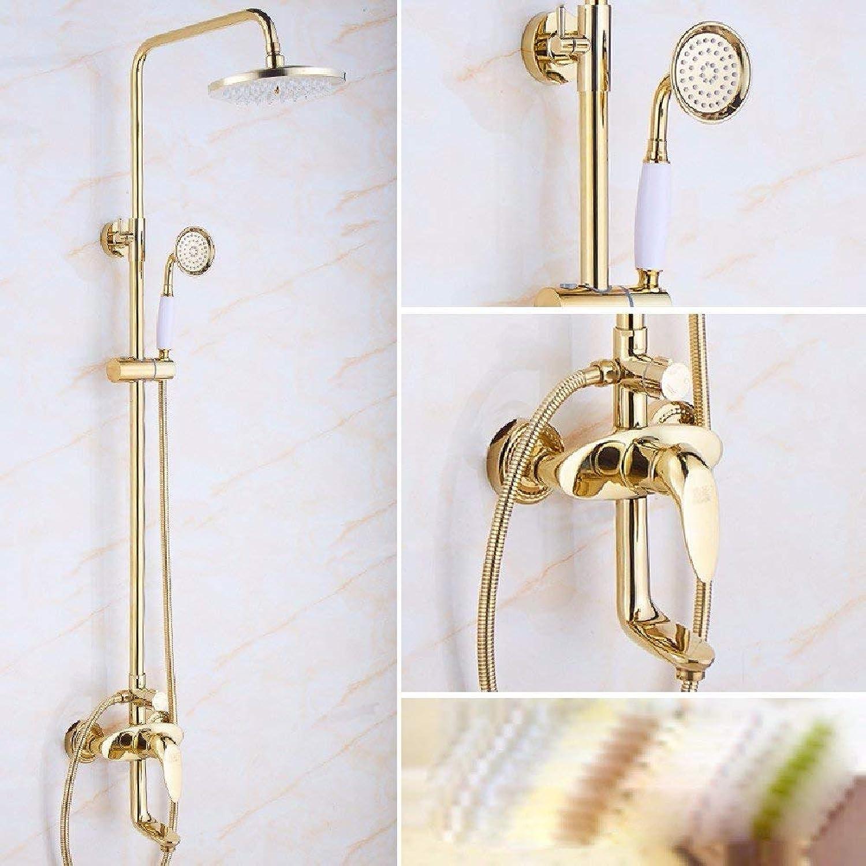 NBE Europischen Stil Gold Jade eingestellt, voll Kupfer Dusche, warmes und kaltes Wasserhahn, antike Badezimmer mit Dusche, E
