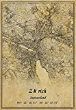 Póster de mapa de Suiza Zürich con impresión en lienzo de estilo vintage, sin marco, para decoración de regalo, 45,7 x 60,7 cm