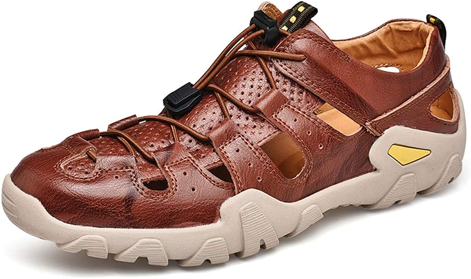 ChengxiO Outdoor Summer Sandals Men's Tide 2019 New Outdoor Leather Casual Hole Breathable Roman shoes Men's Sandals Soft Cow Leather shoes (color   Brown, Size   260mm)