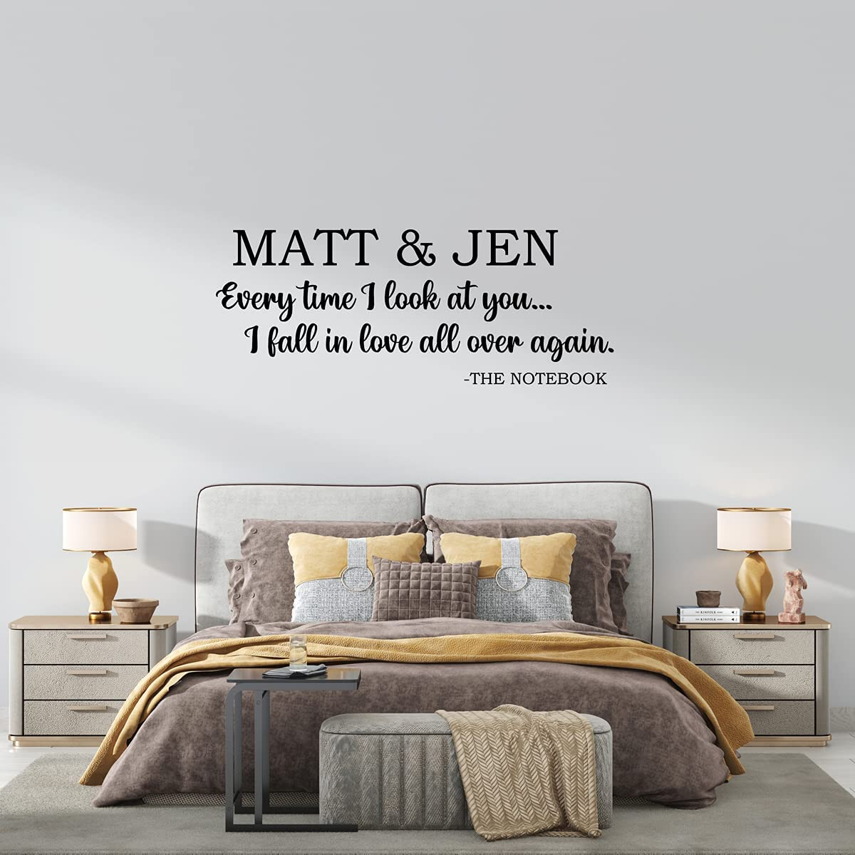 ZIHENG Custom Couples Husband and Wife Name and time Quotes Home Decor Wall Stickers Kids Room Nature Decor Personalized Wall Decal
