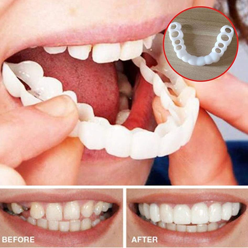 リビングルームブレス期待する化粧用歯14ペア歯のホワイトニングフェイクトゥースカバースナップオンシリコンパーフェクトスマイルベニア歯上下の美容ツール