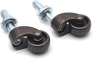 Antrader Solid Brass Swivel Wheel Caster 1-Inch Stem Caster Furniture Casters 2-Pack