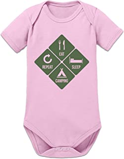 Shirtcity Eat Sleep Camping Repeat Baby Strampler by