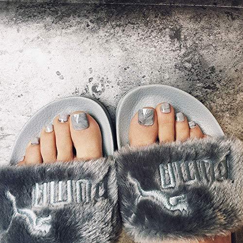 Liarty 24 Stück Sommer einfache Färbung grau Marmor falsche Zehennägel kurze Zehennägel für Mädchen Frauen